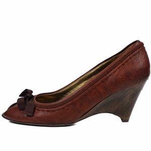 Miu Miu leather wood peep toe wedges 36.5
